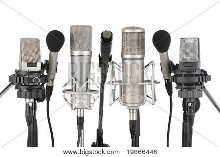 Row Of Seven Microphones