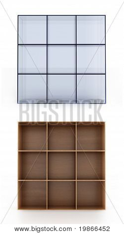3D shelves on white background