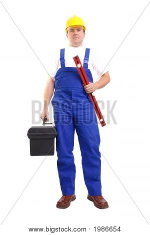 Serviceman With Toolbox And Level
