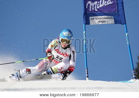 OFTERSCHWANG GERMANY JANUARY 26, Austrian Eva Marie Brem attacks a gate while Competing in the Audi FIS Alpine Ski World Cup Event in Ofterschwang, Germany, 26/01/2008