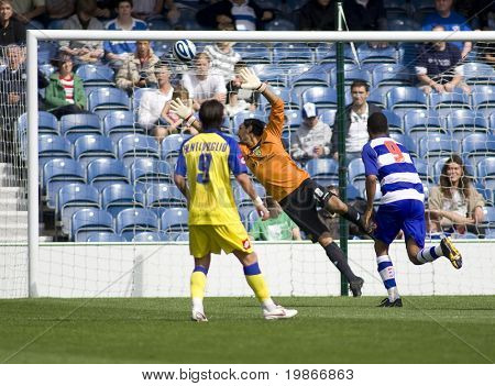 LONDON, UK AUGUST 2, Lorenzo Squizzi trying to save a shot from Dexter Blackstock at the pre-season friendly football match between QPR and Chievo,
