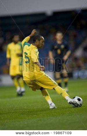 LONDON, UK AUGUST 19, Nasief Morris playing in the international football friendly match between Australia and South Africa held at Loftus Road London 19/08/2008