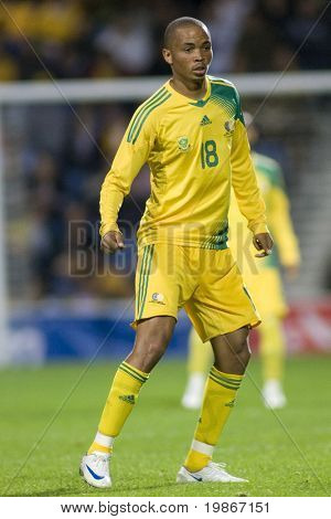 LONDON, UK AUGUST 19, Siyabonga Nkosi playing in the international football friendly match between Australia and South Africa held at Loftus Road London 19/08/2008