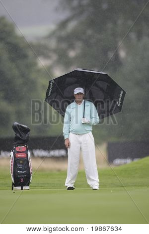 GLENEAGLES SCOTLAND AUGUST 31, Darren Clarke in the rain on the final round of the Johnnie Walker Classic PGA European Tour golf tournament at Gleneagles Perthshire Scotland 28-31 August 2008