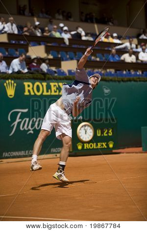 MONTE CARLO MONACO APRIL 21, Feliciano Lopez ESP v Andy Murray GBR competing in the ATP Masters tournament