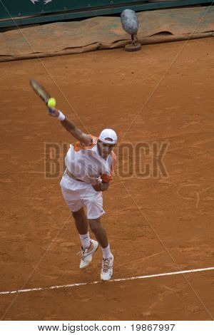 MONTE CARLO MONACO APRIL 23, Ruben Ramirez Hidalgo ESP v Roger Federer SUI competing in the ATP Masters tournament