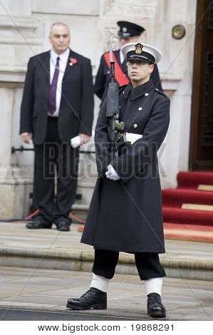 WHITEHALL, LONDON - NOV 8: A sailor from the Royal Navy on duty at the Royal British Legion Remembrance Parade at the Cenotaph November 8, 2009 in Whitehall, London.