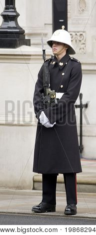 WHITEHALL, LONDON - NOV 8: A Royal Marine Commando on duty at the Royal British Legion Remembrance Parade at the Cenotaph November 8, 2009 in Whitehall, London.
