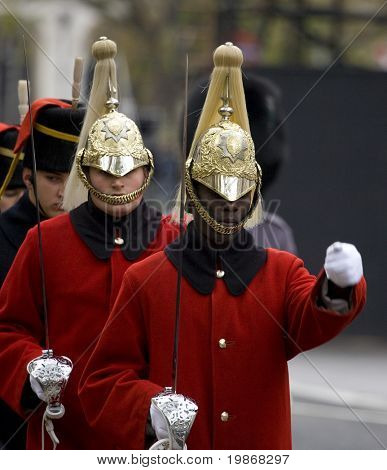 WHITEHALL, LONDON - NOV 8: Soldiers from The Life Guards at the Royal British Legion Remembrance Parade at the Cenotaph November 8, 2009 in Whitehall, London.