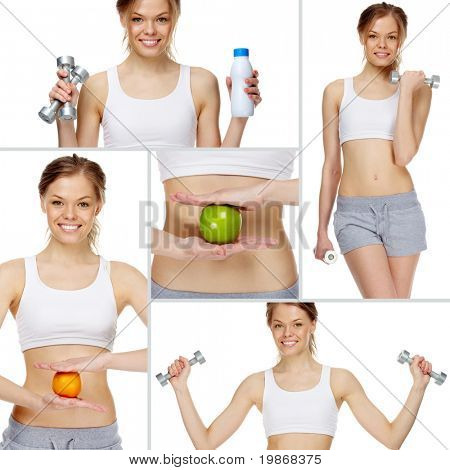 Collage made of girl practicing healthy lifestyle