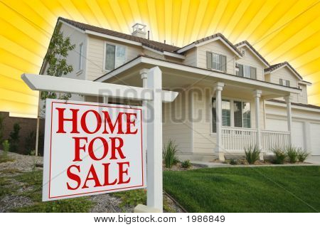 Home For Sale Sign & New House On Star-Burst Yellow Background