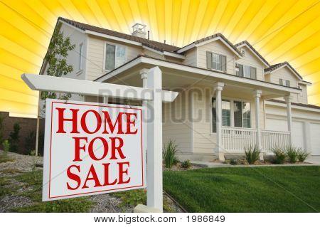 Casa para venda sinal & casa nova no fundo amarelo Star-Burst