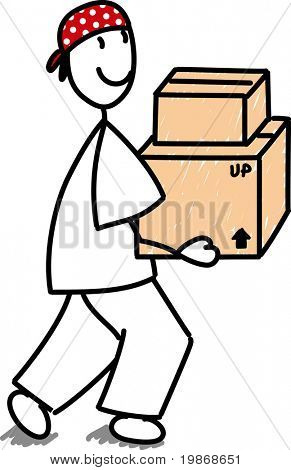 stick man carrying boxes, on a white background