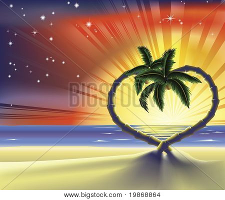 Romantic Beach Heart Palm Trees Illustration
