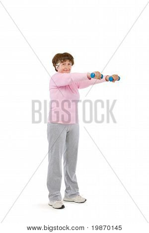 senior woman exercising with dumbells