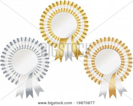 Gold, Silver, Bronze Rosettes
