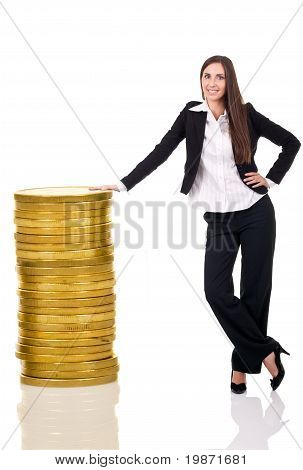 Successful Business Woman With Money