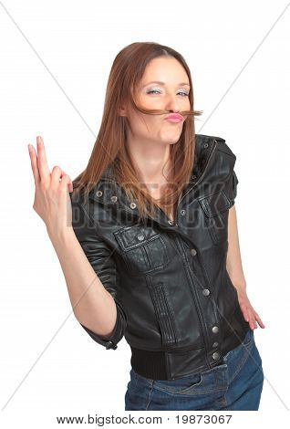 Pretty young woman fooling around