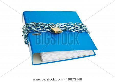 File folder locked with chain