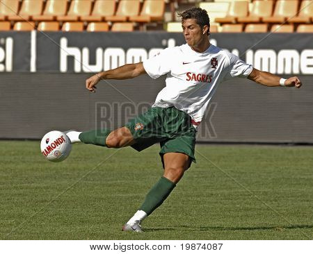 YEREVAN - AUGUST 21: Cristiano Ronaldo, during the training session at Republican Stadium in Armenia for UEFA EURO2008 Group 9 Qualifying match, Armenia-Portugal. August 21, 2007, in Yerevan, Armenia