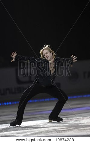 YEREVAN, ARMENIA - DEC 27: Evgeni Plushenko in Yerevan Sport and Concert Hall after Karen Demirchyan in the show ''Golden Ice of Stradivarius''. December 27, 2008, in Yerevan, Armenia