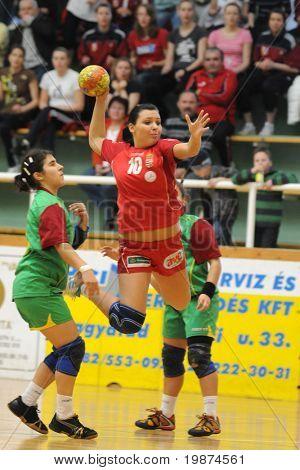 NAGYATAD, HUNGARY - MARCH 8: Alexandra Krizsan ready to score at Women's 17 European Handball Championship qualification match (Hungary vs. Portugal) March 8, 2009 in Nagyatad, Hungary.