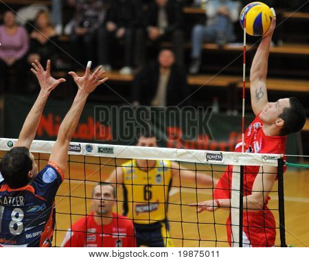 KAPOSVAR, HUNGARY - FEBRUARY 6: Juan Andres Ferreyra strikes the ball at a Middle European League volleyball game (Kaposvar (HUN) vs Bled (SLO), February 6, 2009 Kaposvar, Hungary