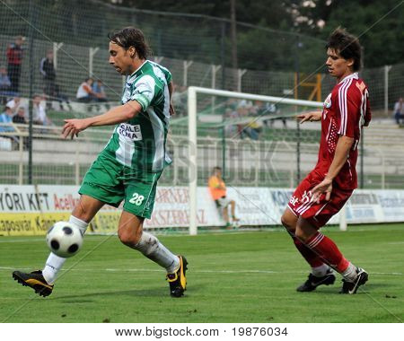 KAPOSVAR, HUNGARY - SEPTEMBER 25: Zahorecz (L) and Laczko (R) at a Hungarian National Championship soccer game Kaposvar vs Debrecen September 25, 2009 in Kaposvar, Hungary.