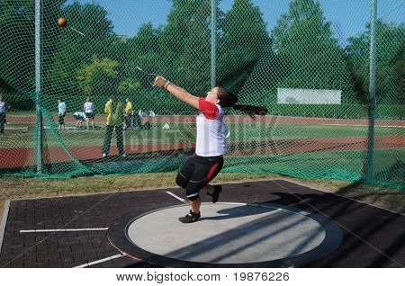 KAPOSVAR, HUNGARY - OCTOBER 3: Unidentified competitor in action at the athletics competition of under 16 national teams of Hungary, Croatia and Slovenia, October 3, 2009 Kaposvar, Hungary