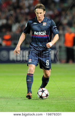 BUDAPEST - SEPTEMBER 29: Kim Kallstrom in action at the UEFA Champions League football game Debrecen vs Lyon, UEFA Champions League football game, September 29, 2009 in Budapest, Hungary.