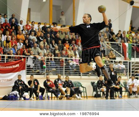 CSURGO, HUNGARY - OCTOBER 21: Krisztian Fodor in action at Hungarian National Handball Championship match (Csurgo vs. Veszprem) October 21, 2009 in Siofok, Hungary.