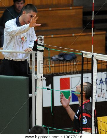 KAPOSVAR, HUNGARY - OCTOBER 13: Sandor Kantor complains to the referee at a Hungarian National Cup volleyball game Kaposvar vs Csepel, October 13, 2009 in Kaposvar, Hungary