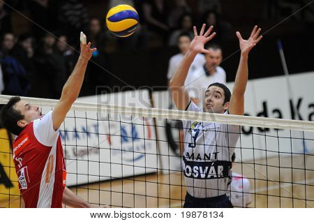 KAPOSVAR, HUNGARY - DECEMBER 8: Jozsef Nagy (3) blocks the ball at a CEV Cup volleyball game Kaposvar (HUN) vs Hotvolleys Wien (AUT), December 8, 2009 in Kaposvar, Hungary