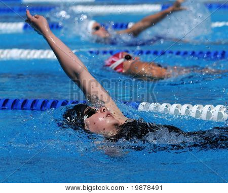 KAPOSVAR, HUNGARY - JUNE 18: Unidentified competitors swim at the Hungarian Country Championship on June 18, 2008 in Kaposvar, Hungary.