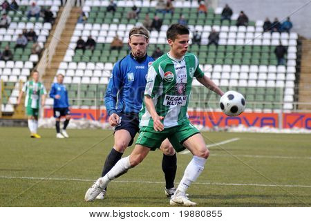 KAPOSVAR, HUNGARY - MARCH 13: Lukacs Bole (R) in action at a Hungarian National Championship soccer game Kaposvar vs Zalaegerszeg March 13, 2010 in Kaposvar, Hungary.