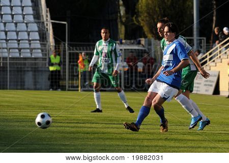 KAPOSVAR, HUNGARY - APRIL 17: Unidentified players in action at a Hungarian National Championship soccer game Kaposvar vs MTK Budapest April 17, 2010 in Kaposvar, Hungary.