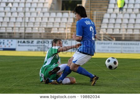 KAPOSVAR, HUNGARY - APRIL 17: Stanic (L) and Vagi (R) in action at a Hungarian National Championship soccer game Kaposvar vs MTK Budapest April 17, 2010 in Kaposvar, Hungary.