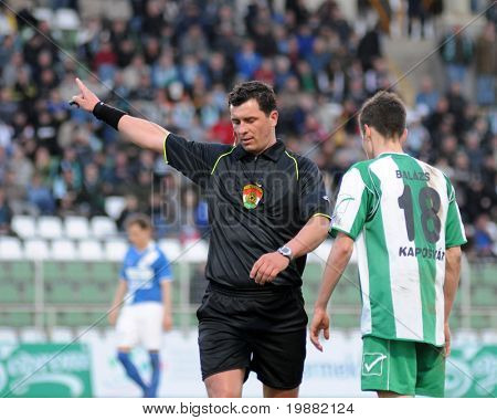 KAPOSVAR, HUNGARY - APRIL 17: Janos Takacs (refeere) in action at a Hungarian National Championship soccer game Kaposvar vs MTK Budapest April 17, 2010 in Kaposvar, Hungary.