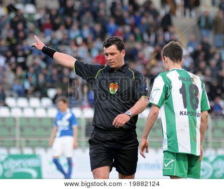 KAPOSVAR, HUNGARY - APRIL 17: Janos Takacs (refeere) in action at a Hungarian National Championship soccer game Kaposvar vs MTK Budapest April 17, 2010 in Kaposvar, Hungary.