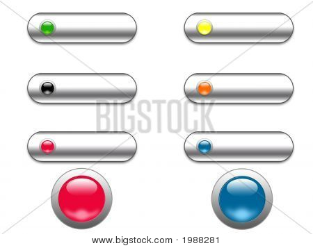 Chrom und Glas Web Buttons - digitale Illustration