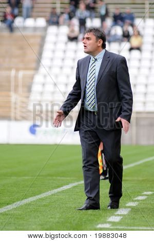 KAPOSVAR, HUNGARY - MAY 8: Attia Pinter (Gyor's trainer) in action at a Hungarian National Championship soccer game Kaposvar vs. Gyor - May 8, 2010 in Kaposvar, Hungary.