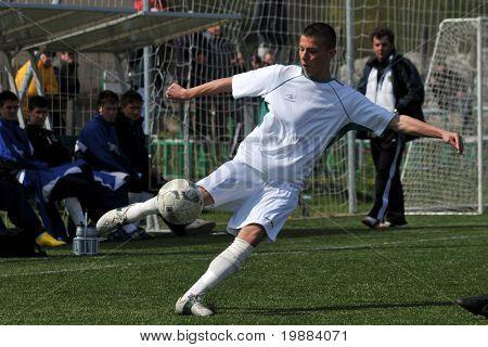 KAPOSVAR, HUNGARY - APRIL 10: Patrik Bojte in action at the Hungarian National Championship under 17 game between Rakoczi FC and Debrecen April 10, 2010 in Kaposvar, Hungary.