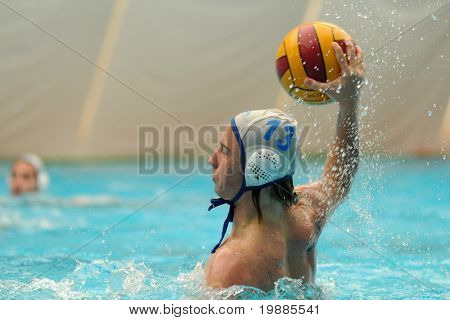 KAPOSVAR, HUNGARY - JUNE 12: Bence Jako in action at a Hungarian National Championship water-polo game (Kaposvar vs MAFC), June 12, 2010 in Kaposvar, Hungary