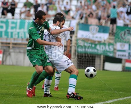 KAPOSVAR, HUNGARY - AUGUST 14: Pedro Sass (in white) in action at a Hungarian National Championship soccer game Kaposvar vs. Haladas August 14, 2010 in Kaposvar, Hungary.