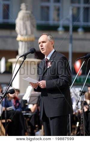 KAPOSVAR, HUNGARY - MARCH 15: Karoly Szita (mayor of Kaposvar) gives a speech at commemoration of 159nd anniversary of the Hungarian Revolution on 15th of March, 2007 in Kaposvar, Hungary