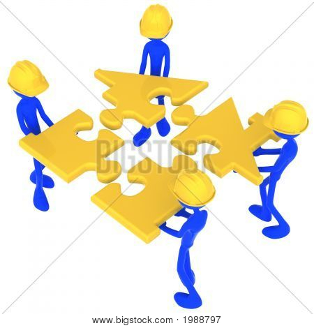 Construction Workers Building Golden House Puzzle