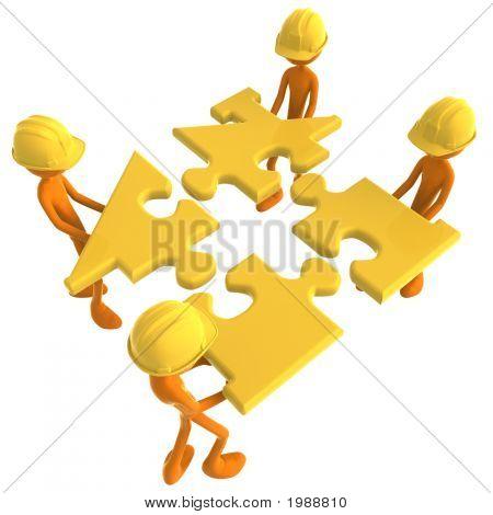 Construction Workers Building Golden House Puzzle