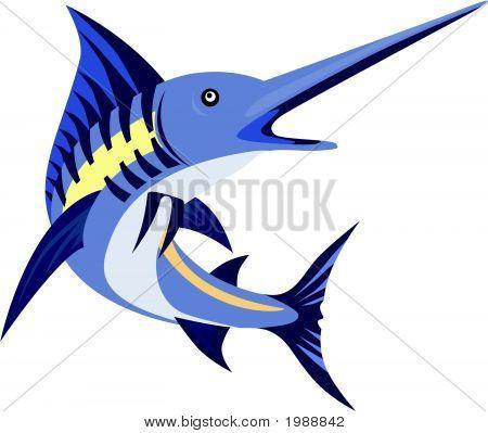 Blue Marlin Art Deco Style