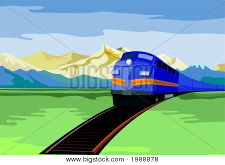 Train Travelling With Mountains In The Background