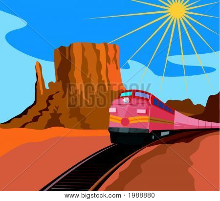Train Traveling With Canyon In Background